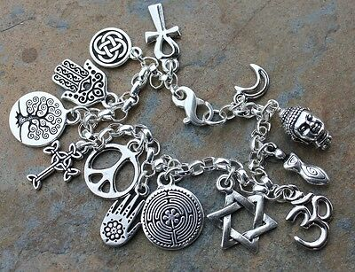 Peace Sign World Religions Coexist Silver Bracelet- Star of David Cross Om Hamsa