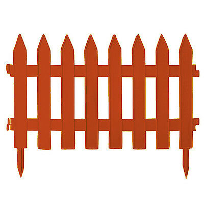 Brown Small 27 cm high plastic picket garden fence, 2 sizes, 2 colours