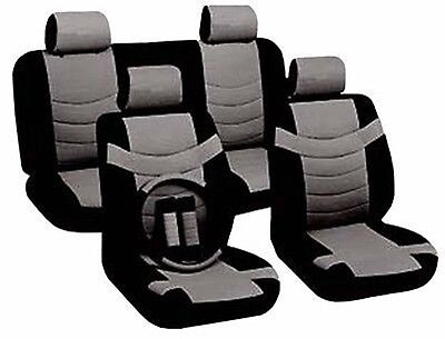 Car Seat Covers Sporty Accent Black Gray PU Leather Steering Wheel Set CS6