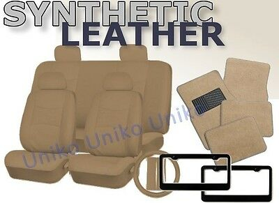 SOLID TAN PU Synth Leather Seat Covers Floor Mats License Plate Frames Beige CS1