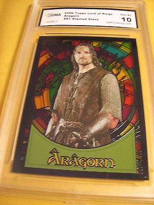 Aragorn 2006 Topps Lord Of The Rings Stained Glass # S1 Graded 10