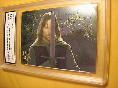 Aragorn 2004 Topps Chrome Lord Of The Rings Triology Attacked # 31 Graded 10
