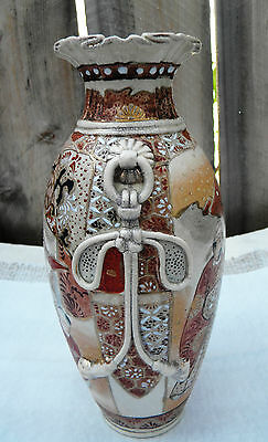 Antique 19th Century Asian  Japanese SATSUMA MORIAGE Ceramic Vase Meiji Period
