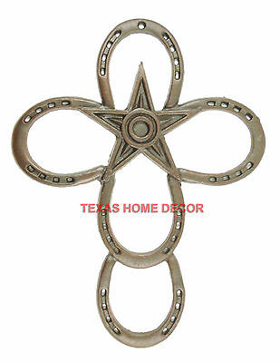 Large Horseshoes Wall Cross Cast Iron With Star Rustic Dark Brown 16x12 ¼ in