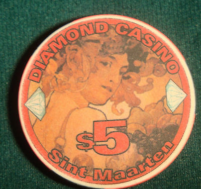 Diamond Casino $5.00 Sint Maarten Casino Poker Chip Artistic Unique Blackjack $5