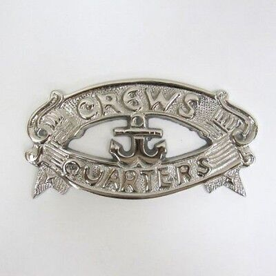 "Chrome Plated ""Crews Quarters"" Door Sign ~ Nautical Maritime ~ Boat Ship Decor"