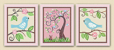 Love birds, tree, rabbit, pink, pretty Animals, Nursery Baby/kids Art/wall decor