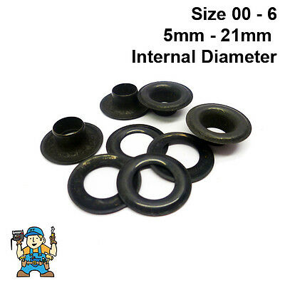 Black Plated Solid Brass Eyelets & Washers Handy Pk (24 of each part) CS Osborne