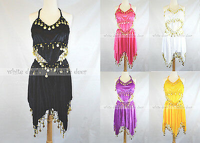 2 PCs Belly Dance Costume Set Tribal Velvet Top Bra Hip Skirt Gold Coin 5 Color