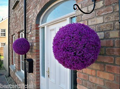 2 Best Artificial 40cm Purple Topiary Heather Balls Christmas Gift Present Xmas