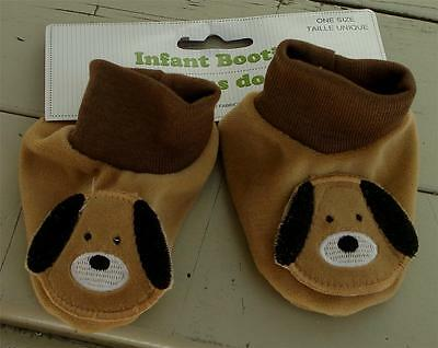 BRAND NEW WITH TAGS One Size Newborn Infant Booties, Puppy Dog, SOFT, SO CUTE