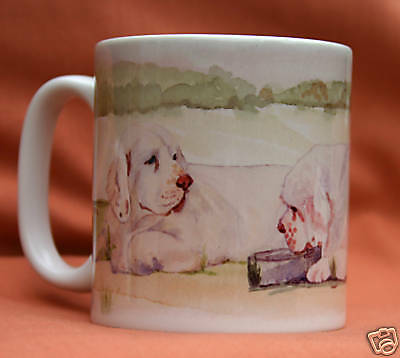 CLUMBER SPANIEL DOG mug Off to the Dog Show Sandra Coen artist sublimation print