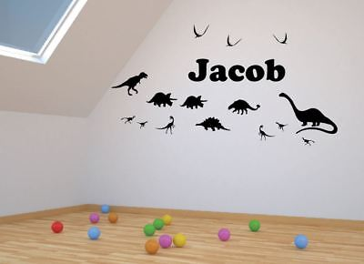 DINOSAUR Silhouettes with Any Custom Name - Wall Stickers - Black
