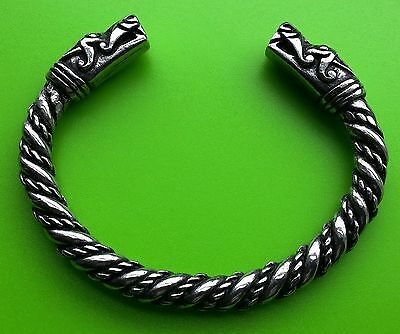Viking Dragon Head Solid Hand Crafted Pewter Bracelet Bangle