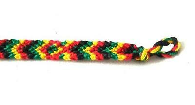 Bulk Pack Of 12 Rasta Friendship Bracelet Cotton New Ethically Made In Guatemala