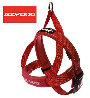 EZYDOG Quick Fit Dog Harness - One Click - Adjustable - Reflective Ezy  RED