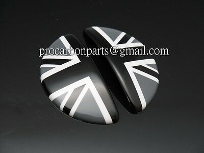 Aluminum Door Emblems~ Black Union Jack for Mini cooper S for R50 R52 R53