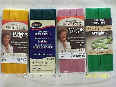 """Wrights / C&C Bias Tape Single Fold-1/2"""" w x 4 yds 103 Great colors to choose!!!"""