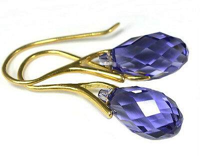 *BRIOLETTE* 24K Gold Plated Silver Earrings made with  Swarovski Crystals - 17mm