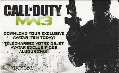 CALL OF DUTY MW3 EXCLUSIVE AVATAR ITEM Code Card (Xbox360 Live)