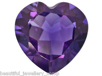 BJC® Genuine Purple Amethyst Heart Cut Loose Gemstones 7mm - 9mm Brand New