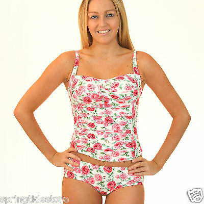 Vintage Cream Floral Ruched Padded Tankini Swimsuit Top or Bottom 12 14 16