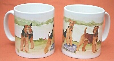 AIREDALE TERRIER DOG mug Off to the Dog Show design Sandra Coen artist print
