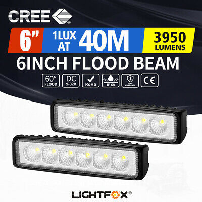 2x 6inch 30W LED Work Driving Light Bar Cree Flood beam Lamp Reverse Offroad 4x4
