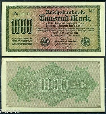 ALEMANIA GERMANY 1000 Mark Marcos 1922 Pick 76h Green paper  SC-  / AUNC