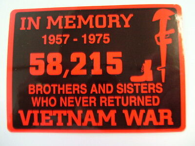 """Decal """"IN MEMORY - 1957-1975 - VIETNAM WAR"""" Decal """"red"""", size 3"""" x 4"""",  #FL1183"""
