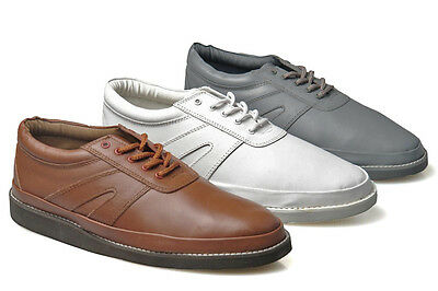Mens New Leather Lace Up Bowls Bowling Shoes Grey / Tan / White Size 3 - 12
