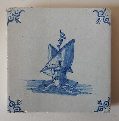 "SUPERB 17th Century DUTCH DELFT TILE ""SHIP AT SEA"" (c.1650/75)"