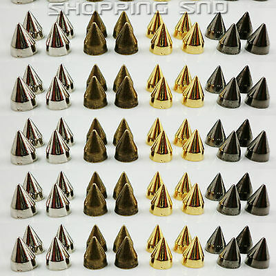 RUBYCA Screwback Cone Spikes Metal Stud for Leather 9mm Black Silver Gold Bronze
