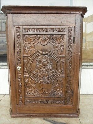 Victorian Antique Carved Oak Corner Cupboard / Victorian Carved Wall Cupboard