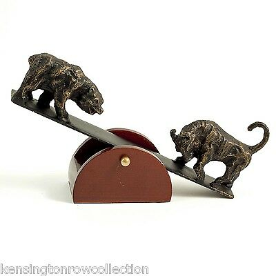 Sculpture - Bull And Bear On Moveable Wood Stand - Stock Market Seesaw