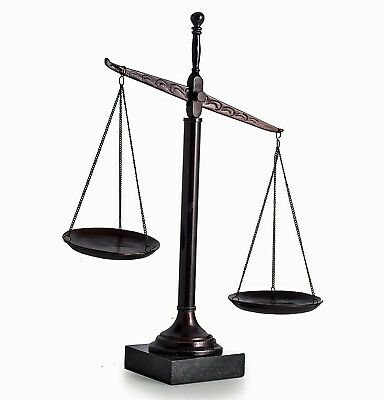 "Lawyers & Legal - 16""h Scales Of Justice Sculpture On Marble Base"
