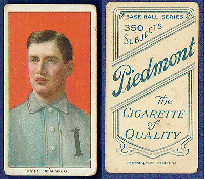 1909 T206 charlie carr Piedmont Tobacco Baseball Card No Creases EX indianapolis