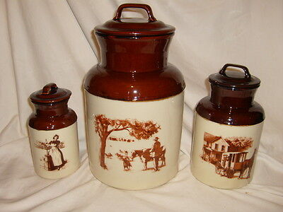 Vintage McCoy Canister Set of 3, Dairy Heritage, McCoy Milk can style