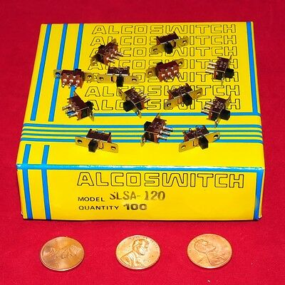 ALCOSWITCH / TE - SPDT MINI SLIDE SWITCH P/N SLSA-120 - FACTORY BOX of 100 PCS