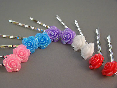 One Pair Flower Bobby Hair Pins Resin, Silver Plated