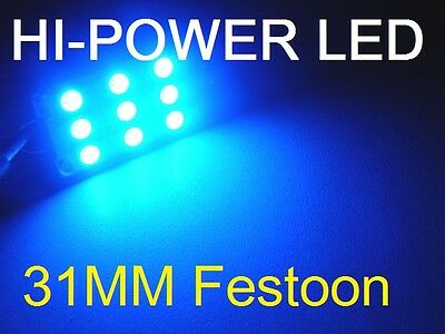 31mm BLUE LED Festoon 9 LED Dome Interior Festoon Bulb SUPER BRIGHT 12V