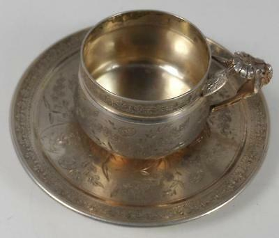 Austrian Russian France Cup Tray Saucer Beetle Sterling Silver Engraved Ts