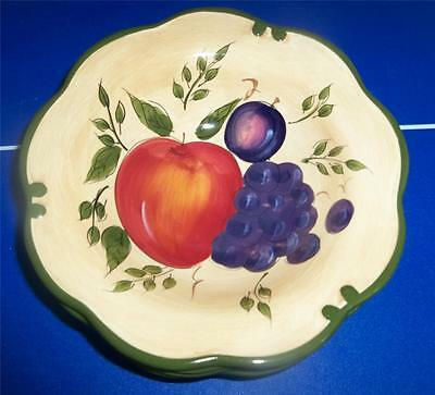 4 Home Trends Granada Grapes Apple Plum Fruit Green Band Soup Cereal Bowls