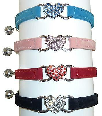 Cat Safety Collar Pet Suede Crystal Heart - Red, Blue, Pink & Black - 30cm