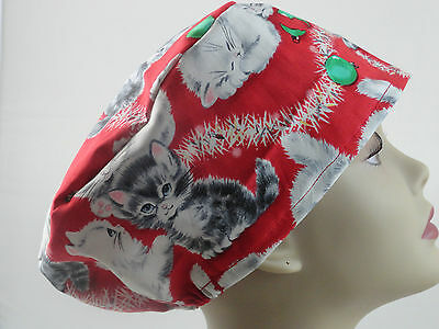WOMEN'S SURGICAL_SCRUB HAT_kittens_cats_ready_for_Christmas_bright_red_fun_happy