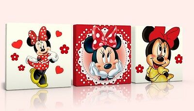 3 X DEEP EDGE CANVAS PICTURES new  CLASSIC RED MINNIE MOUSE free p&p