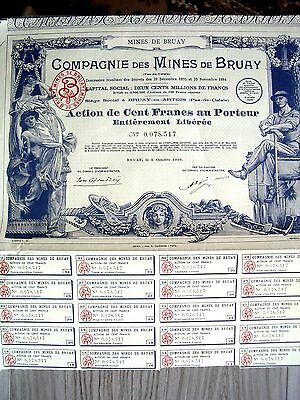 France French 1939 Bruay Mines 100 Francs Coupons UNC Bond Share Loan Stock