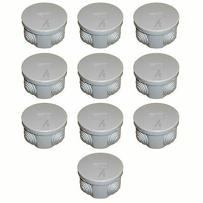 10 x Junction box round weatherproof IP44 65 x 35mm grommets cable connetion box
