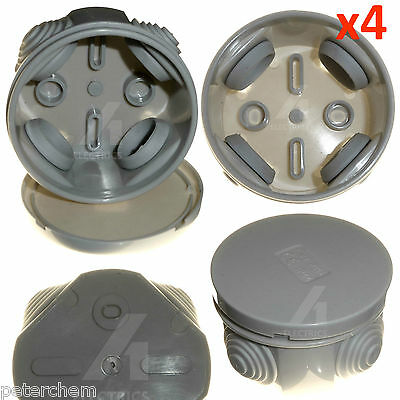 4 x Junction box round weatherproof 65 x 35mm rubber grommets IP44 cable wire