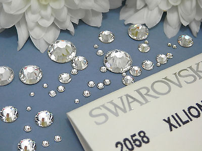 Clear Swarovski Flat-Back Crystals 2088 & 2058 *No Hot Fix* Nail Art ALL SIZES